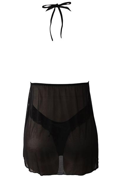 Сексуальная V шеи спинки Смотреть-Через Черный Полиэстер Ночная Рубашка(Включая Трусы)