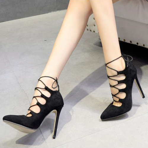 bc695a063a50 Stylish Pointed Closed Toe Cross Lace-up Hollow-out Stiletto Super High  Black PU