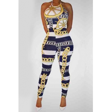 Trendy Round Neck Sleeveless Chain Printed Qmilch One-piece Jumpsuits