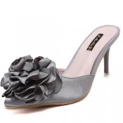 Fashion Pointed Closed Toe Flower Decorative High