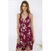 Poppoly Fully Grown Floral Plunging Wrap Dress