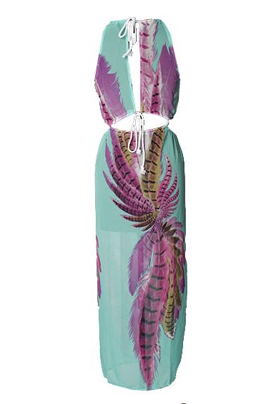 Rodada Sexy Neck mangas Impresso assimétrico azul Chiffon Ankle Comprimento do vestido