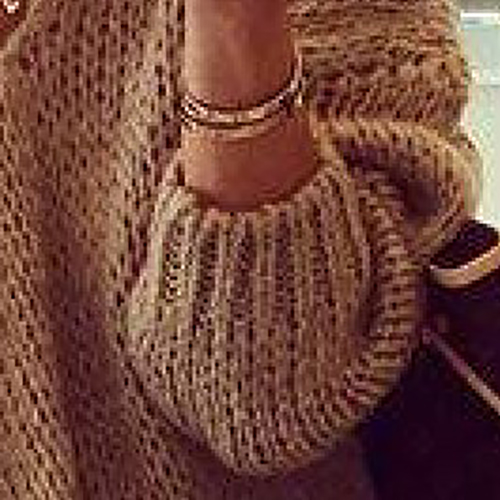 Fashion V Neck Long Sleeves Khaki Woolen Regular Pullover Sweater Top