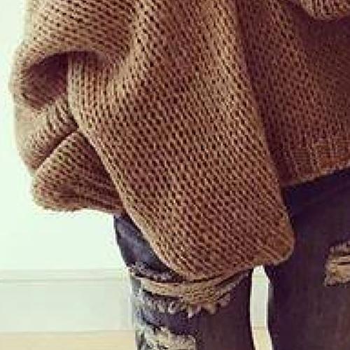Fashion V Neck Long Sleeves Khaki Woolen Regular Pullover Sweater Top