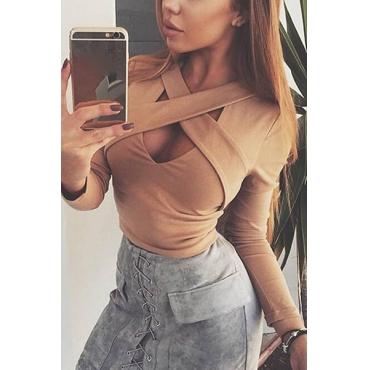 Fashionable V Neck Long Sleeves Cross Bandage Hollow-out Khaki Polyester Shirts