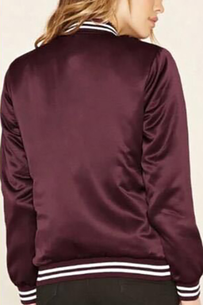 Euramerican Round Neck Long Sleeves Patchwork Wine Red Polyester Coats