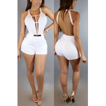 Sexy Deep V Neck Sleeveless Backless  White Healthy Fabric One-piece Jumpsuits