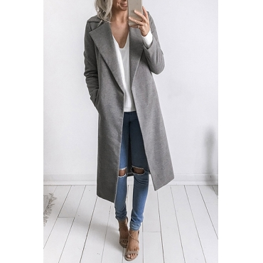 Trendy Turndown Collar Long Sleeves Grey Trench Coats