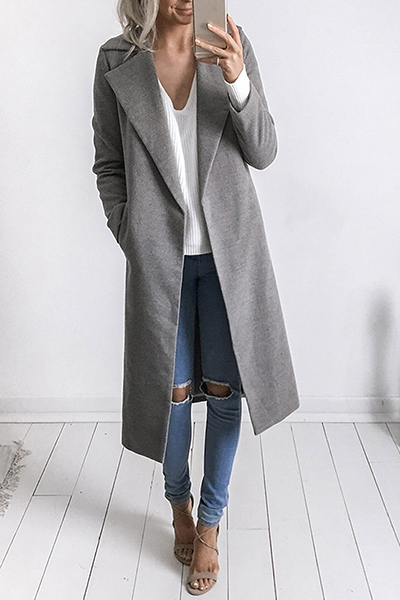 Trendy Turndown Collar Long Sleeves Grey Trench Coats