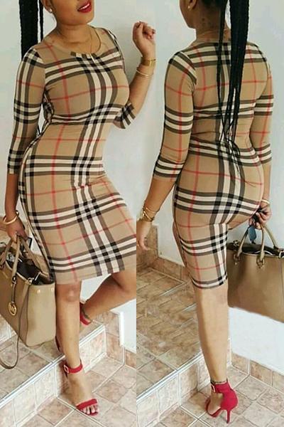 col rond manches trois-quarts élégant plaids polyester robe de longueur genou gaine