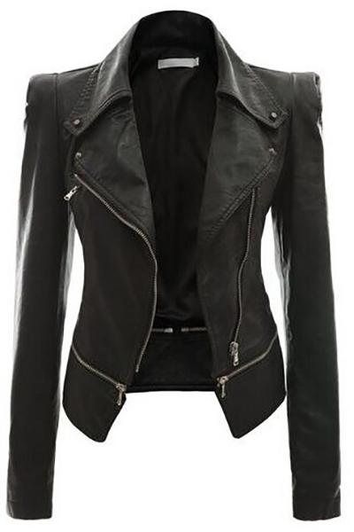 Stylish Turndown Collar Long Sleeves Zipper Design Black Faux Fur Coat