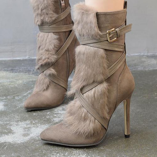 Trendy Pointed Toe Fur Design Stiletto Super High Heel Khaki Suede Mid Calf Boots