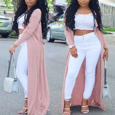 Trendy Long Sleeves Pink Nylon Long Trench Coats