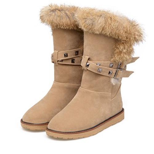 Fashionable Round Toe Fur Design Flat Low Heel Brown PU Short Snow Boots