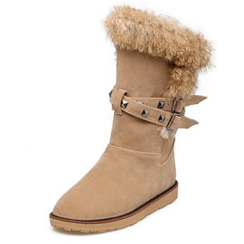 Модный круглый меховой дизайн с плоской низкой пяткой коричневый PU с короткими снежными сапогами