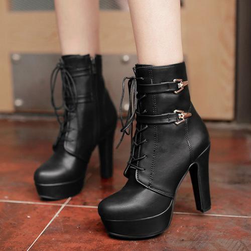 Стильный Круглый Носок Зашнуровать Короткие Короткие Туфли На Высоком Каблуке PU Короткие Сапоги