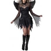 Halloween Angel Design Black Polyester Cosplay Cos