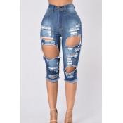 Trendy High Waist Broken Holes Green Denim Skinny Shorts(Without ...