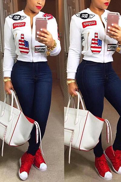 Stylish Mandarin Collar Long Sleeves Collage Design White Cotton Coat<br>