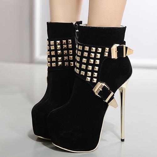 Стильная круглая подкладка с заклепками Декоративная черная замшевая обувь