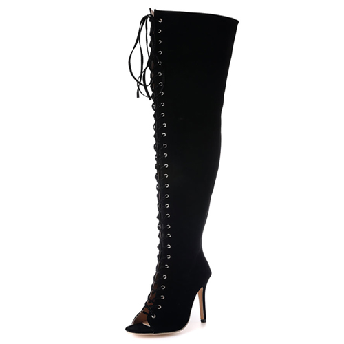 Trendy Round Peep Toe Lace-up Hollow-out Black Suede Stiletto Super High Heel Over The Knee Boots