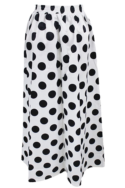 Fashion High Waist Polyester Dots Printed White Polyester Skirts