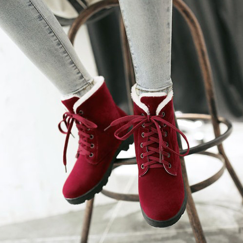 Elegante Round Toe Lace-up Wedge Mid Heel Botas de Martinho Vermelho camurça