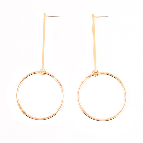 Euramerican Geometric Circles Decorative Gold Metal Earring