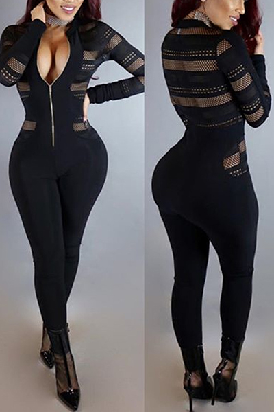 Sexy Round Neck Long Sleeves Gauze Patchwork Polyester One-piece Skinny Jumpsuits