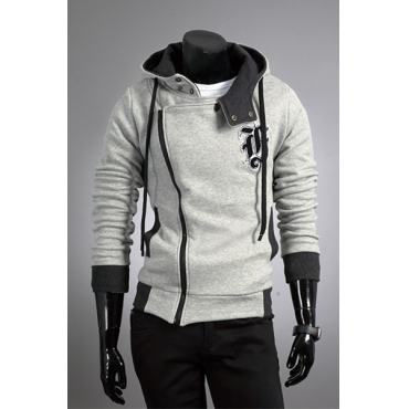 Casual Hooded Collar Long Sleeves Zipper Design Light Grey Cotton Blends Coat for men