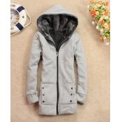 Winter Hooded Long Sleeves Zipper Design Dark Grey Polyester Coats
