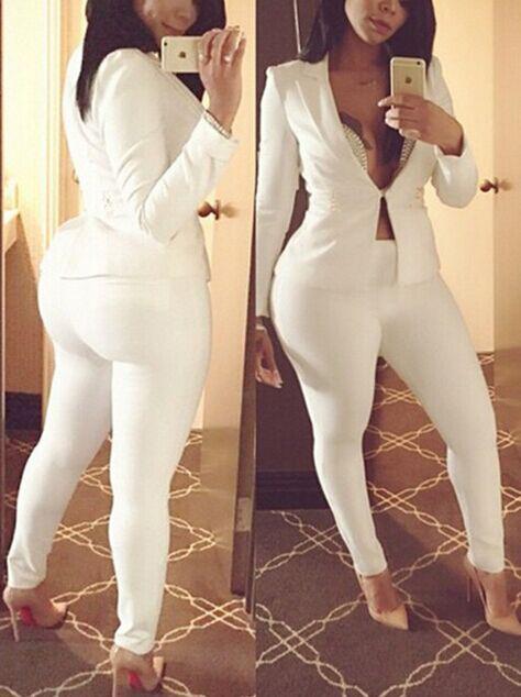 Precioso Y Elegante Collar De Cobertura Mangas Largas, Conjunto De Dos Piezas De Pantalones Blancos