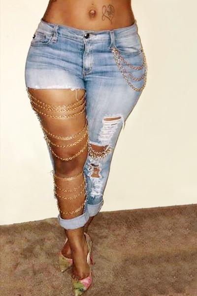 Fashion Mid Waist Broken Holes Light Blue Denim Pants