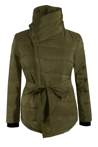 Stylish Long Sleeves Asymmetrical Army Green Cotton Parkas