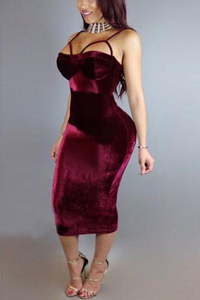 Sexy Spaghetti Straps Sleeveless Hollow-out Wine Red Velvet Sheath Mid Calf Dress