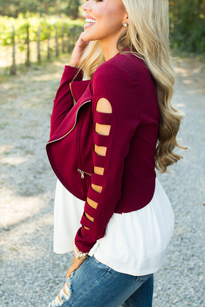 stylish round neck long sleeves hollow out wine red cotton short coat coat jacket outerwear. Black Bedroom Furniture Sets. Home Design Ideas