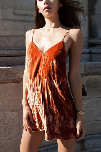 Sexy V Neck Spaghetti Strap Sleeveless Orange Velvet Mini Dress