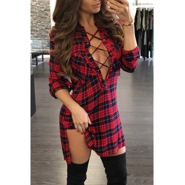 Sexy V Neck Long Sleeves Plaids Hollow-out Red Polyester Mini Dress