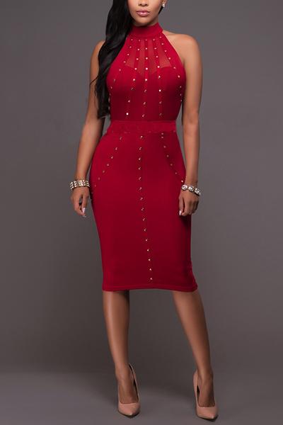 Trendy Mandarin Collar Sleeveless Rhinestone Decorative Red Healthy Fabric Knee Length Dress