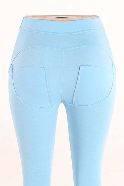 Stylish Mid Waist Polyester Patchwork Blue Polyester Leggings