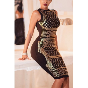 Euramerican Round Neck Sleeveless Hot Drilling Decorative Gold Qmilch Sheath Knee Length Dress