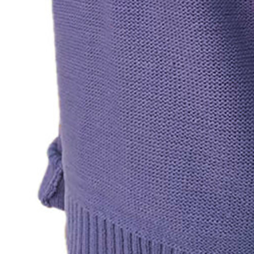 Euramerican V Neck Long Sleeves Hollow-out Purple Acrylic Sweater