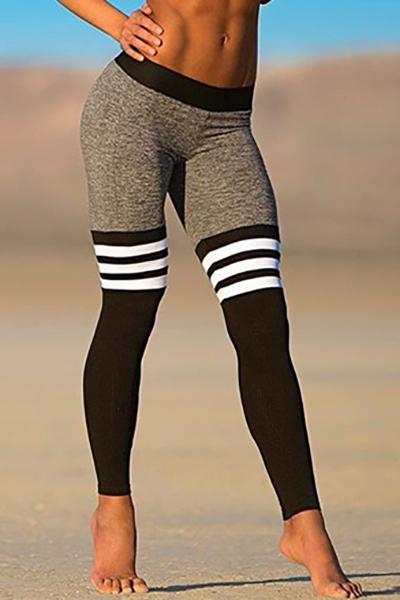 Casual Elastic Waist Patchwork Black Cotton Skinny Pants
