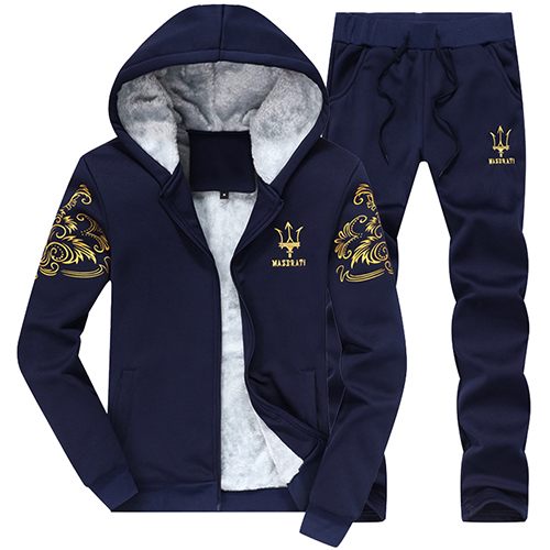 Leisure Hooded Collar Long Sleeves Embroidery Dark Blue Cotton Two-piece Pants Set for men
