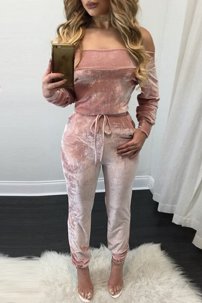 Charming Bateau Neck Long Sleeves Lace-up Pink Velvet One-piece Skinny Jumpsuits