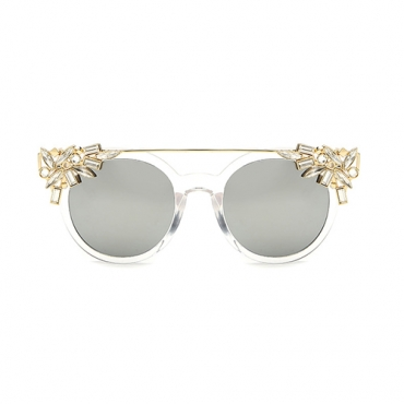 Euramerican Rhinestone Decorative Silver PC Sunglasses