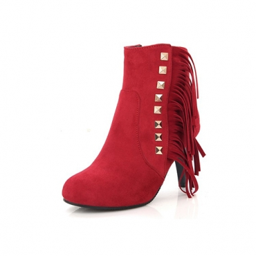 Stylish Round Toe Tassel Design Stiletto High Heel Red Suede Boots