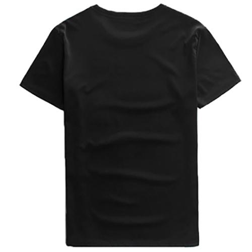 Leisure Round Neck Short Sleeves Printed Cotton T-