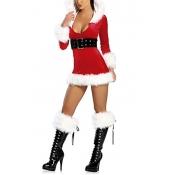 Christmas Long Sleeves Fur Design Red Velvet Costu