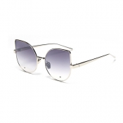 Euramerican Cat's Eye Shaped Grey Metal Sunglasses
